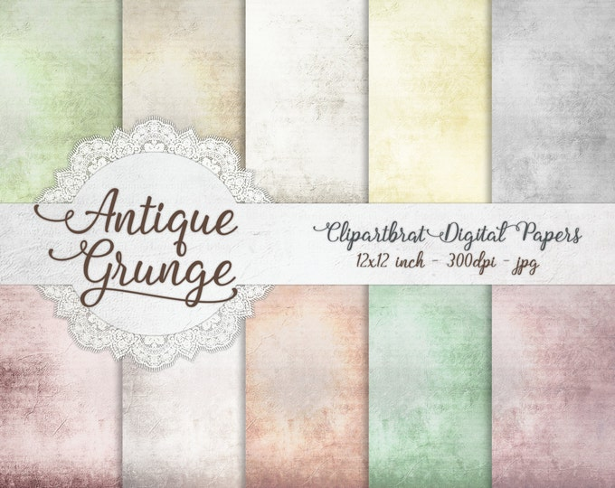 VICTORIAN GRUNGE Digital Paper Pack Commercial Use Digital Backgrounds Romantic Antique Distressed Digital Background Grunge Textured Papers