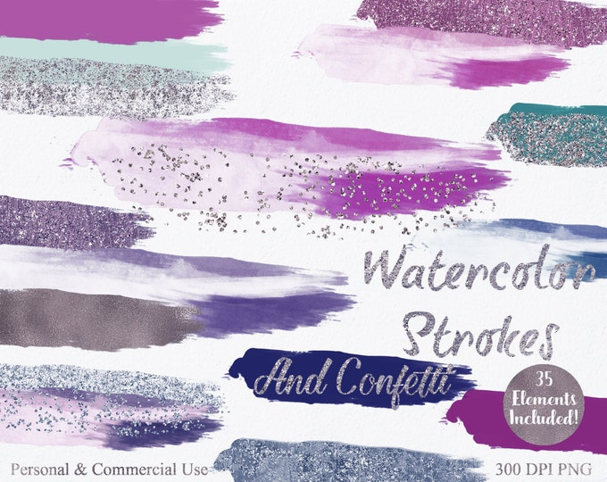 WATERCOLOR PAINT STROKES Clipart Commercial Use Clipart 35 Watercolor Rectangle Brush Splotch Confetti Watercolor Textures Logo Clip Art