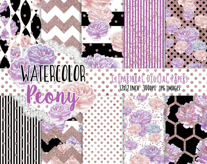 WATERCOLOR PEONY Digital Paper Pack Black White Blush Pink & Rose Gold Metallic Commercial Use Digital Paper Stripes Floral Digital Paper