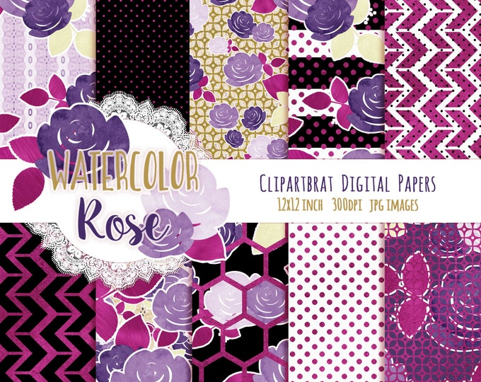 PINK & NAVY WATERCOLOR Floral Digital Paper Pack Black White Pink Metallic Commercial Use Digital Paper Rose Floral Stripes Digital Paper