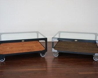 Industrial Coffee Table   Custom Color   Large Steel U0026 Wood Rustic Coffee  Table / Glass