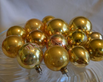 Vintage Ornaments, Gold Ornaments, Gold