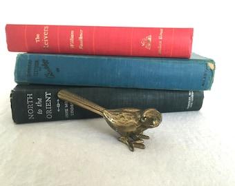 Vintage Brass Bird Paperweight, Vintage Brass Bird Figurine