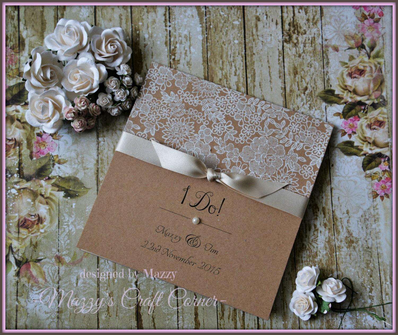 Vintage Handmade Wedding Invitations: Handmade Rustic Vintage Ellegant Wedding Invitation With Lace