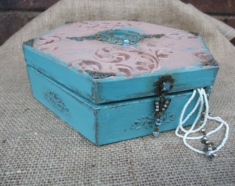 turquoise jewelry box,wooden trinket box,decorative retro style box,art chest,home decor