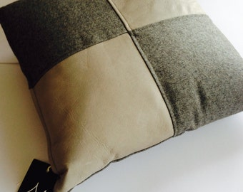 Wool & Leather Cushion Cover