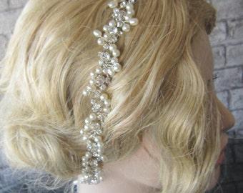 Ivory pearl and rhinestones headband, bridal headband, headpiece, wedding hairband