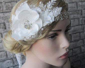 Flower And Rhinestones Wedding Headband/ Ivory Lace Headband, Rhinestones Headpiece, Victorian headpiece