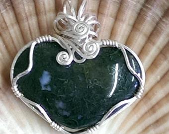 Sterling Silver Green Moss Heart Pendant