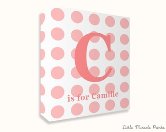 Camille, Polkadots, Canvas Print, Nursery Décor, Custom Baby Name, Congratulations, Kids Room Art, Nursery Print, Baby Girl [N12G325C]