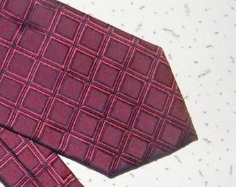 Vintage purple tie men's wedding necktie Italian silk tie Maroon necktie FRANGI checkered tie  Burgundy necktie plaid  necktie made in Italy