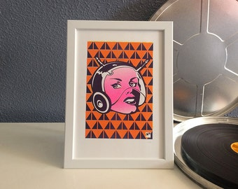Risograph print SciFi lady - limited edition