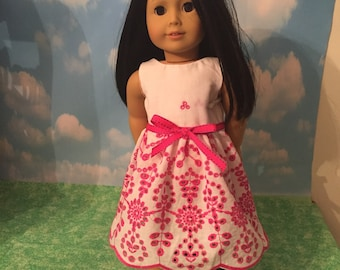 "Pink and White Embroidered Eyelet Dress for 18"" Dolls like American Girl Dolls"