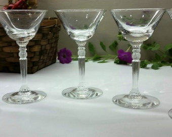 CRYSTAL CORDIAL SHERRY Stems Vintage Set of 5 Clear With Ornate Ribbed Stems Circa 1950 - 1960 Barware
