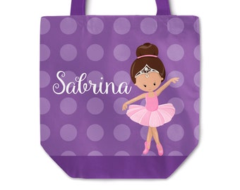 Ballerina Tote Bag - Ballet Bag, Dark Purple Polka Dot, Ballet Dancer Personalized Tote Bag Sack, You Pick Girl - Kids Personalized Gift Bag
