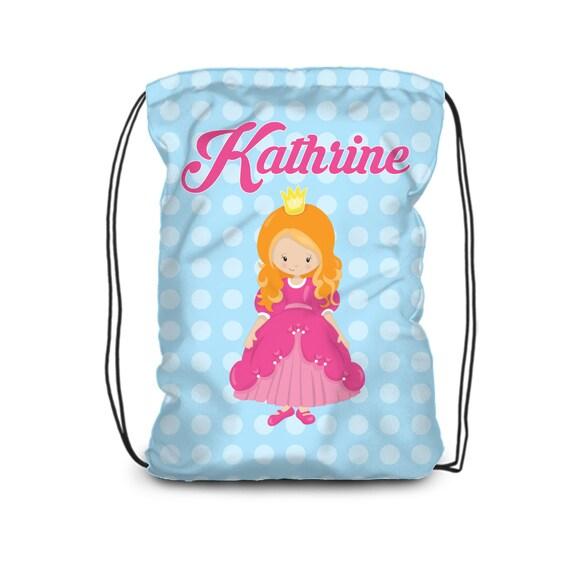 Personalized Princess Backpack Princess Bag Blue Polka Dot