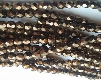 6mm Light Bronze, Czech Fire Polish glass faceted round, 90215- 30 Beads