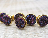 Purple druzy stud set, Bridesmaids gift, bridesmaid jewelry, 18k gold plated, druzy earrings, great gatsby wedding, raw stone, uk
