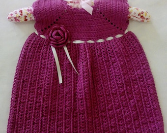 Crochet Pink Rose Dress - 12/18 months