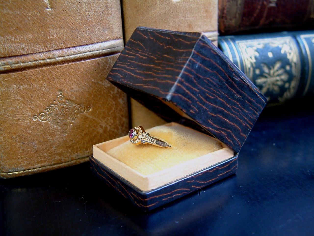 antique engagement ring box deco faux bois ring
