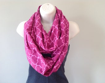 Pink geometric scarf breast cancer awareness fall scarf infinity scarf scarves geometric