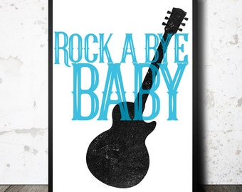 Printable nursery art, instant download, rock a bye baby sign, printable wall art, kids room poster, boys bedroom , guitar illustration