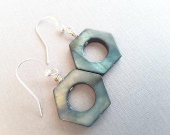 Dark Teal Hexagon Shells . Earrings