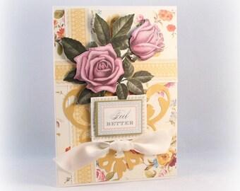 Get Well Card, Feel Better Card, Cottage Chic, Shabby Vintage, Rose,Floral, Elegant Get Well Card, Fancy Handmade Card, Get Better Card