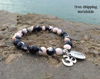 Energy Bracelet, Mala Bead Bracelet, Healing Bracelet, Ohm Bracelet, Tree of Life Mala Bracelet, Agate Mala , Meditation and Prayer, Love