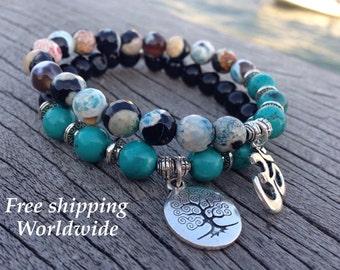 Set of 2 Agate Bracelets, Mala Beads, Turquoise Bracelet, Japa Bracelet, Om Mala Bracelet, Tree of Life Mala, Buddhist Rosary, Prayer Beads