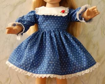 "Blue Print long sleeve ""Snug Fit"" dress for 18 inch dolls."