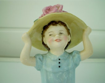 Royal Doulton China Figure - Make Believe - Blue Colourway - Designed by M Nicoll - Copr 1961 - HN2225 - England