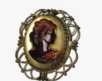 Vintage Cameo Brooch, Gold Tone Victorian Lady Pin, Caramel Carving on Yellow Glass, Mid Century Jewelry, 1950s-1960s