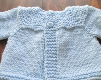 boys 0-3 month two button blue cardigan