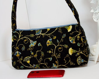 Purse satchel top handle quilted shoulder bag in black gold print with blue zipper tote floral