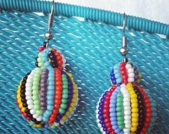 Beaded ball earrings
