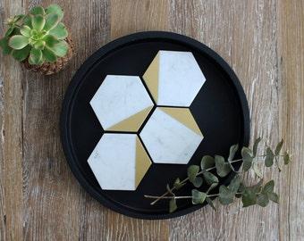 Gold Tipped Carrara Marble Hexagon Coasters