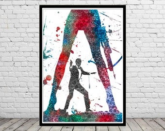 James Bond inspired, 007, James Bond, Watercolor Print, Wall Art,Poster (1851b)