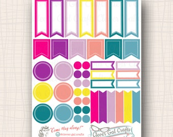 Functional Planner Stickers   Sensible Shapes Sampler   Flo Palette   45 Stickers Total   #SS10FLO