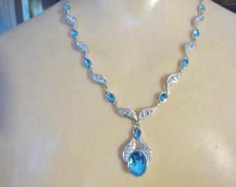 Blue and Clear Rhinestone Necklace w/ Dangle Pierced Earrings