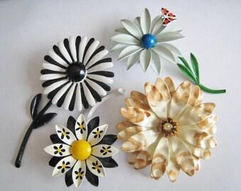 Four Medal Flower Pins