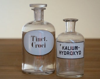 2 vinatage apothecary bottles with labels, 1950s