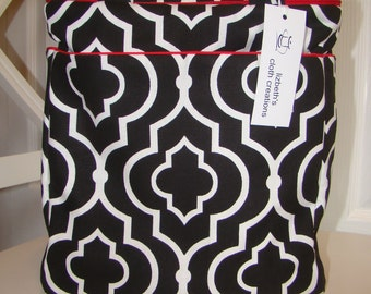 Black and White Mosaic Insulated Tote