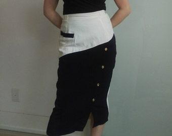 Vintage Two-Tone Midi Skirt, Size: S-M
