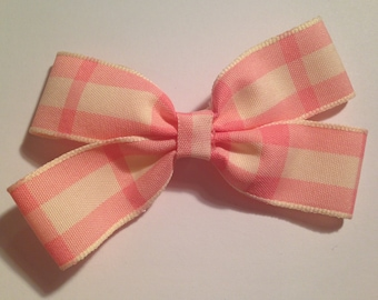 Pink And White Tartan Bow