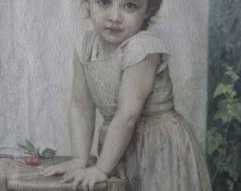 W Bouguereau Print//Yvonne Girl With Cherries//RESERVED KW 6/24