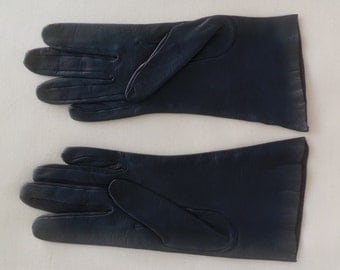 Gloves leather vintage medium indigo woman Women Leather gloves size 6 1/2 - Size S very good condition