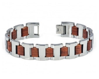 Men's Tungsten Carbide Bracelet with Mahogany wood inlay