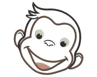 7 sizes - Curious George Applique Design, Curious Monkey Applique, Curious George Machine Embroidery Design, instant download pattern