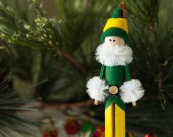 Pinspot Elf Clothespin Ornament